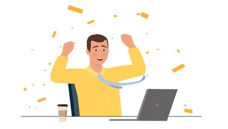 Winner man rejoices in the workplace. Vettoriali