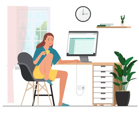 The girl works at the computer. Home office workplace. Ilustração