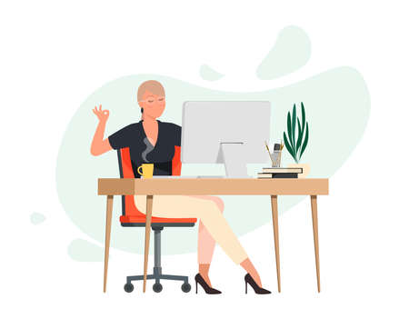 Woman meditates at work place
