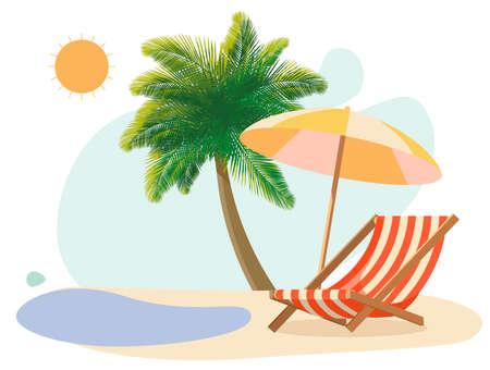 Vacation concept, beach, deck chair, umbrella, sun