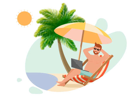 A man lies in a deck chair with a laptop on the beach. Illustration