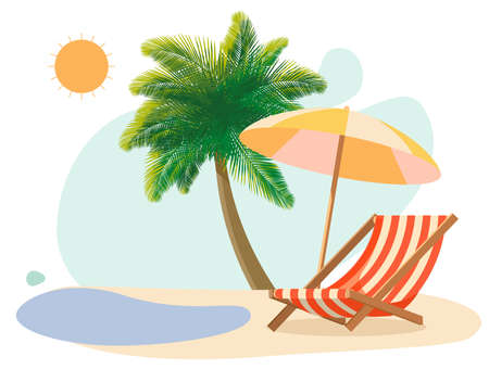 Sunbed on the beach under a palm tree by the sea Illustration
