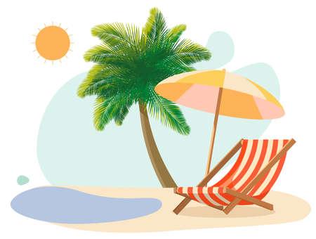 Sunbed on the beach under a palm tree by the sea Illusztráció