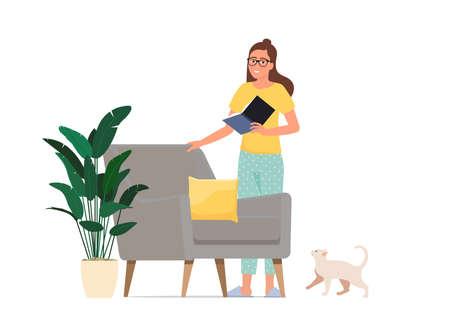 Girl reading a book. Home hobby.