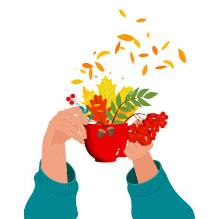 Cup in hands with an autumn bouquet. Illustration