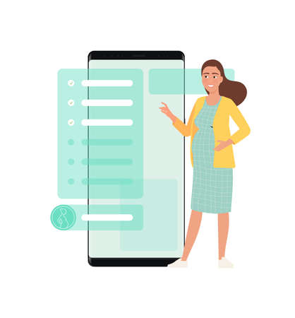 A pregnant woman orders services through an application on a smartphone.