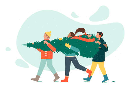 Three people in winter clothes are carrying a Christmas tree. Ilustração