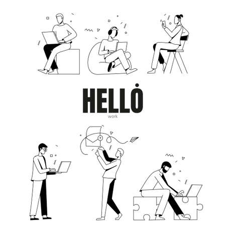 Vector set of group of people working