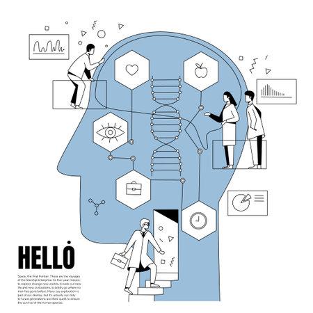 Biohacking vector illustration concept. Minimalistic nordic style