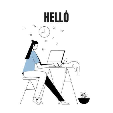 Freelancer works at a computer