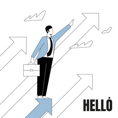The leader man stands on the arrow and indicates the direction to the top.  イラスト・ベクター素材