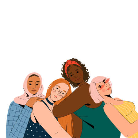 Four female friends of different nationalities and cultures are sitting together.  イラスト・ベクター素材
