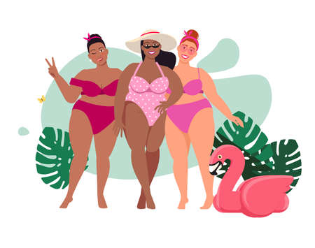 Three cheerful girls in bathing suits with hat and sunglasses and flamingos Ilustração