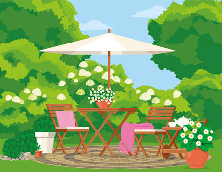 Cozy backyard with garden furniture in the greenery of the garden.