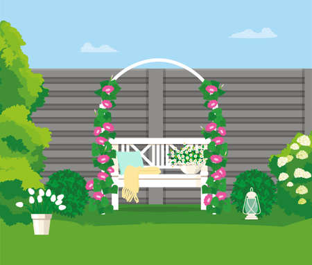 A garden bench under an arch with weaving flowers.