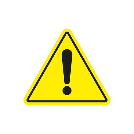 Danger warning sign. Exclamation mark on a yellow triangle. Simple flat vector illustration Vector Illustratie