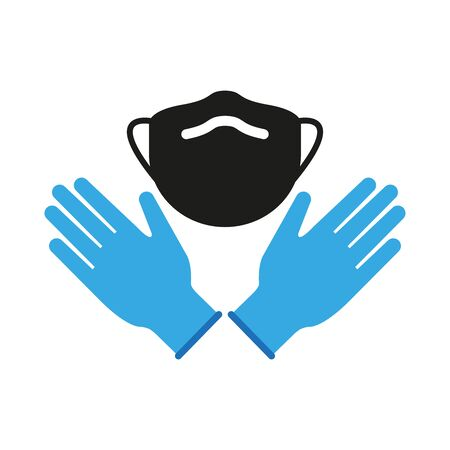 Icon for medical masks and gloves. Personal protective equipment. Simple vector illustration Ilustración de vector