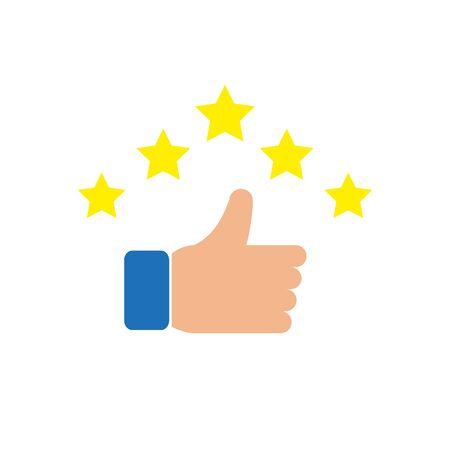 Icon of a hand with a raised thumb and stars. Simple vector illustration