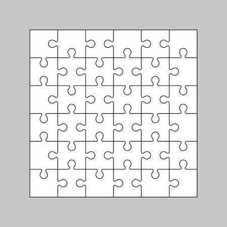 A set of white puzzles on a gray background. Simple vector illustration.