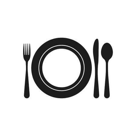 Plate with Cutlery. Plate, fork, knife, spoon. Simple vector illustration