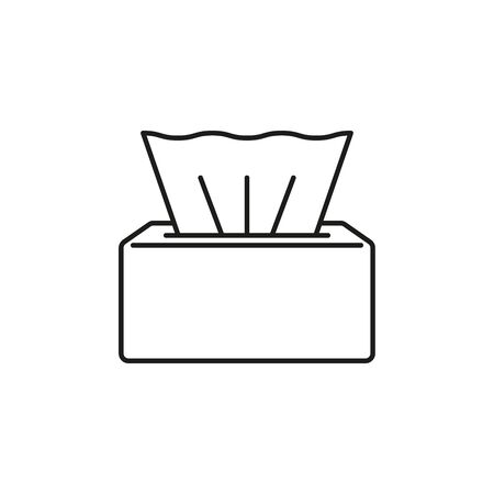 Icon of disposable napkins in a box. Simple linear illustration on a white background.