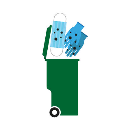 Used gloves and mask. Utilization. Urn. Simple vector illustration on a white background.