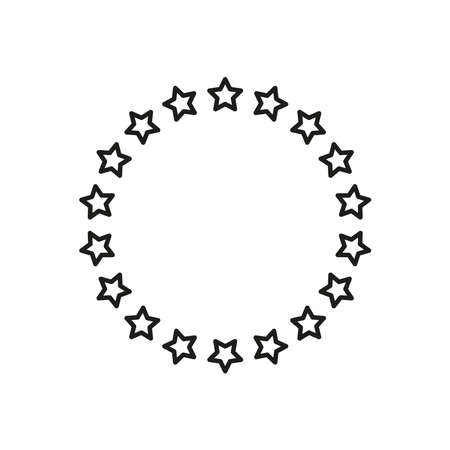 Stars in a circle. Round frame. Simple vector linear illustration on a white background. Vettoriali