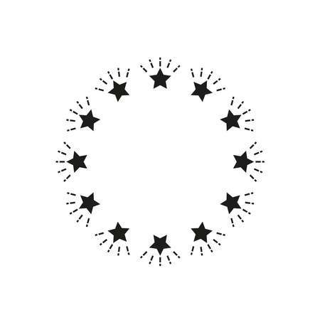 Round frame of stars. Simple vector illustration on a white background.