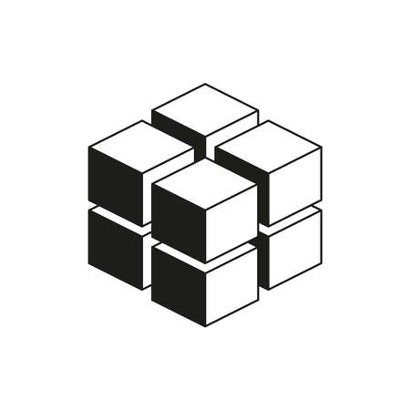 A geometric cube of 8 isometric cubes. Simple vector illustration on a white background.