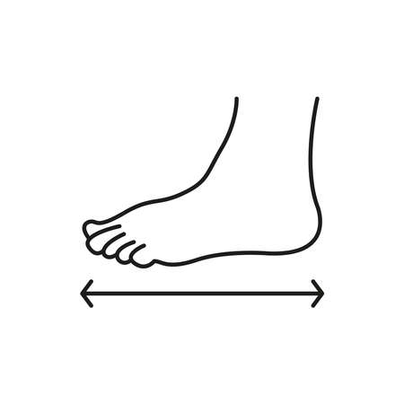 The size of the foot. The measurement of the foot. Shoe size. Simple vector illustration on a white background.