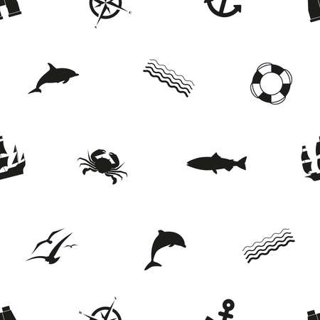 Seamless pattern in marine style. Black silhouettes on a white background.