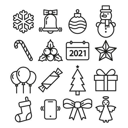 Set of Christmas icons. Simple linear vector illustration on a white background.