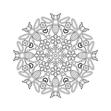 Mandala for kids with bees. Ilustração