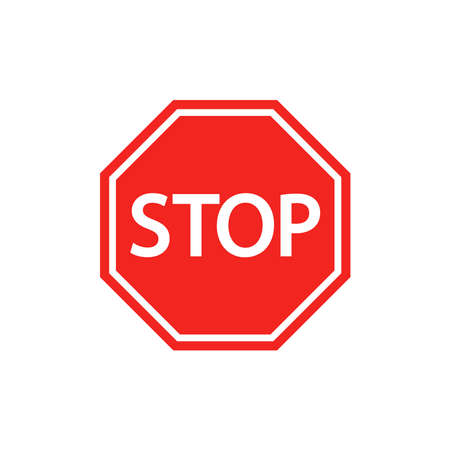 Stop sign. Red octagon. Simple flat vector illustration on a white background.