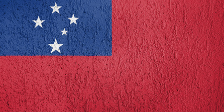 Texture of Samoa flag on the wall of relief plaster. Stock Photo