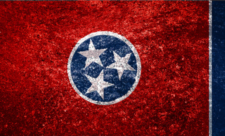 Texture flag of the state of Tennessee USA on a marble tile.