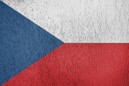 Texture of Czech Republic flag on the wall of relief plaster. Stock Photo