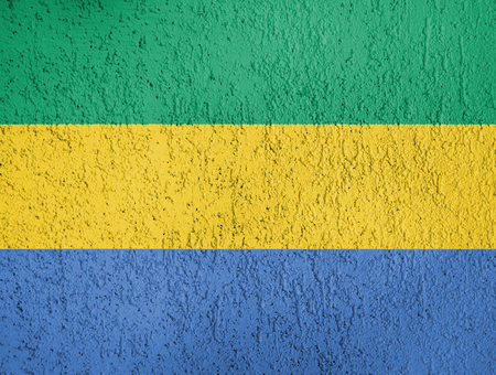 The texture of Gabon flag on the wall of the plaster. Stock Photo