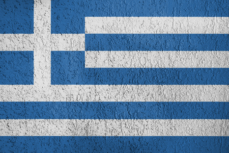 The texture of Greece flag on the wall of the plaster.