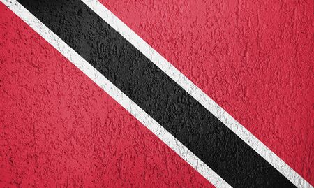 Trinidad and Tobago flag on the wall of relief plaster.