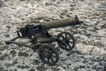 A Machine gun Maxim in service with the Soviet Red Army Stock Photo
