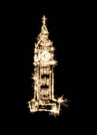 Big Ben symbolic drawing using sparklers on a black background. Banque d'images