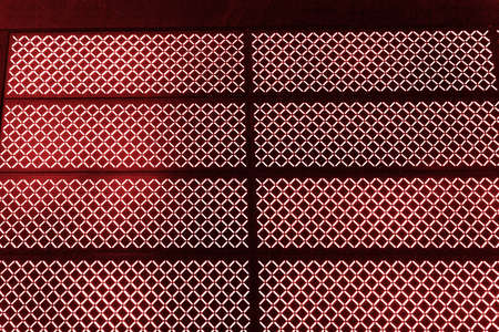 Abstract texture of red luminous blur lamps on a black background. Banque d'images