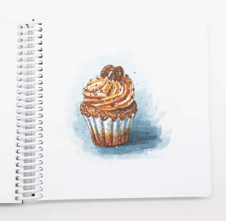 Photo Sketch Drawing of a cupcake with cream or cupcake with markers and a liner.