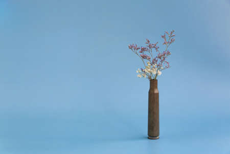 Dried flowers in an empty case from under a firearm on a blue background