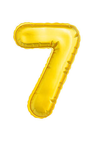 Numeral seven yellow soft to the touch isolated on white background.