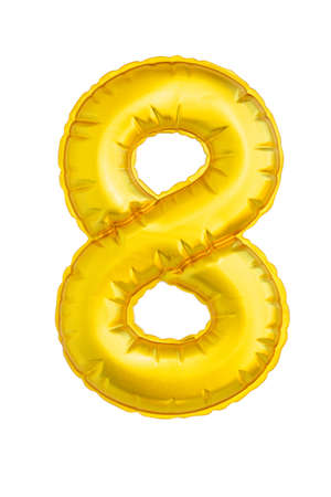 Numeral eight yellow soft to the touch isolated on white background. Standard-Bild