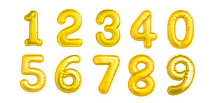 Set of numbers gold isolated on white background.