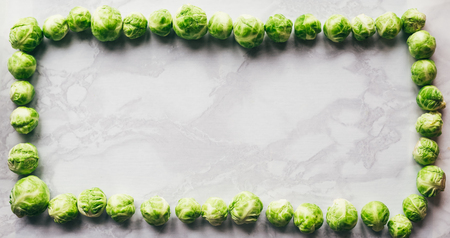 the frame of the Brussels sprouts. white background, copy space, place for your own text