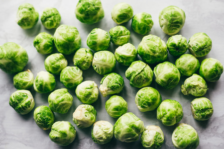 Brussels sprouts on white background Stock Photo